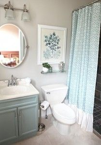 Small Bathroom Decorating Pictures with Blue Curtain 209x300 Small Bathroom Decorating Pictures with Blue Curtain