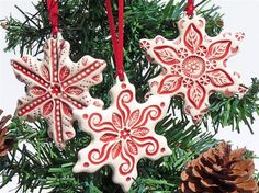 Christmas tree ornaments --salt dough and red paint