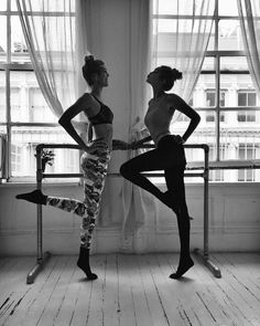 Ballet babes (and workout buddies) Devon Windsor & Gigi Hadid train at Ballet Beautiful for the Victoria's Secret Fashion Show.