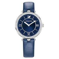 Swarovski 5376633 Aila Dressy Lady Silver Tone Blue Dial Leather Womens Watch for sale online Seiko, Swarovski Watches, Lady, Color Azul, Watch Sale, Smartwatch, Stainless Steel Case, Blue And Silver, Swarovski Crystals