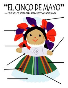 Cinco de Mayo Body Parts Label and Color By Number in Spanish. I have this little doll in my class.