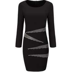 Round Neck Diamante Slit Bodycon Dress (35 BAM) ❤ liked on Polyvore featuring dresses, bodycon dress, long bodycon dress, slit dress, long purple dress and collar dress