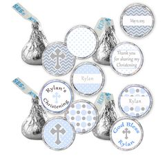 CANDY STICKERS - Printable Christening Baptism 1st Holy Communion Hershey Kiss Labels - Light Blue Gray Cross - Personalized Baby Boy Kisses on Etsy, $8.00