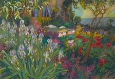 Le Jardin aux Iris - Robert Antoine Pinchon c.1920 Oil on canvas