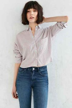 BDG Marcelle Cropped Button-Down Shirt