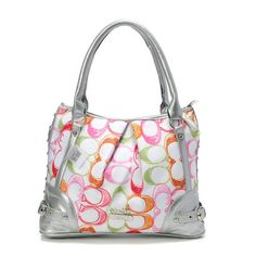 Coach Poppy In Signature Medium Silver Totes AEI [Coach0A2494] - Coach Poppy In Signature Medium Silver Totes AEI Product Details The Poppy tote is striking in a fabric printed with graphic Signature Cs. The zip-top design is detailed with leather trim and elegant hardware. -Size:14 1/5 x 5 x 10 1/5-Signature