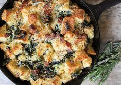 Savory parmesan bread pudding with bacon, kale, and rosemary.  Perfect for lazy weekends and Sunday brunch!