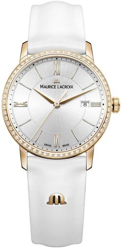 @mauricelacroix Watch Eliros Ladies #add-content #basel-16 #bezel-diamond #bracelet-strap-leather #brand-maurice-lacroix #case-material-rose-gold #case-width-30mm #date-yes #delivery-timescale-call-us #dial-colour-silver #gender-ladies #luxury #movement-q