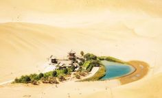 CRESCENT MOON LAKE, DUNHUANG, CHINA The city of Dunhuang used to be a major stop along the Silk Road and is best known for the nearby Mogao Caves. However, it is also home to the Crescent Lake oasis – named so for its distinctive shape, which serves as a major tourist draw. Visitors can enjoy camel and ATV rides.