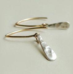 Jane Earrings Simple Mixed Metal Modern Hammered Matte Silver Drops