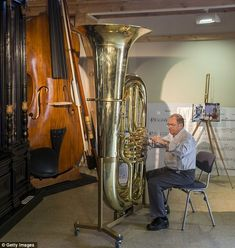 Giant orchestra: The world's largest functional tuba can be seen next to the world's largest violin
