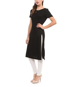 Another great find on #zulily! Black Side-Slit Tunic #zulilyfinds