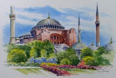 Watercolor Painting of Hagia Sophia, Istanbul Turkey