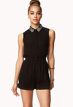 Bejeweled Chiffon Romper | FOREVER21 - 2039379665