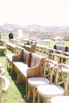 What a MIX! What's your opinion on mixing styles of seating for your ceremony. In this pin we see wooden benches and crossback chairs. Loving the crossback chairs? We have them available to rent for your upcoming event. Visit or showroom, located just east of 41st & Sheridan in Tulsa, Oklahoma, today to see these items and more