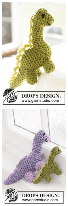 Crochet Two Sizes Amigurumi Dinosaur Free Patterns