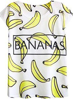 Futurino Women's Summer Graphic Fruit Print Short Sleeve T shirt Tee Tops Fruit Print, Tee Shirts, Tees, Branded T Shirts, Printed Shorts, Fashion Brands, Banana, T Shirts For Women, Clothes