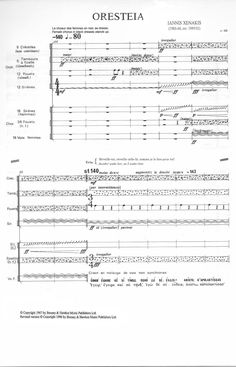 Page of the score of Oresteia by Iannis Xenakis