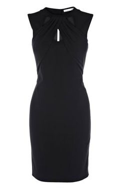 Karen Millen Cut away neckline jersey dress black Fitted jersey pencil dress with cut away detailing on the front and back neckline. A simple dress with great design features is what you need to get you through the season. This 2012 Karen Millen dress is effortless and is designed to flatter. In black or cobalt blue team simply with black peep toe shoes to complete your sophisticated look. Fabric: 100% Viscose Wash care: Dryclean