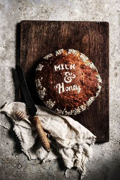 stenciled buttermilk honey and oat loaf