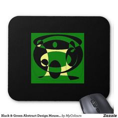 Black & Green Abstract Design Mousepad