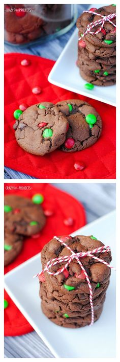 Perfect double chocolate mint M&M Christmas cookies