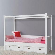 Himmelbett LOVELY ANNA mit 4 Schubladen, Massivholz, weiß, 90x200cm OHNE HIMMELVORHÄNGEN