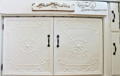 Antique Ceiling Tile Cabinet Doors - Knick of Time New doors using 2 antique ceiling tiles for the fronts. Cut ceiling tiles to size, mount them on wood, then frame up the wood with trim. Upcycled Furniture, Painted Furniture, Diy Furniture, Painted Hutch, Furniture Makeover, Farmhouse Style Table, Vintage Farmhouse, White Kitchen Cabinets, Painting Kitchen Cabinets