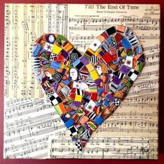 Heart Mosaic  glass on canvas by MosaicGlassArt on Etsy, $120.00