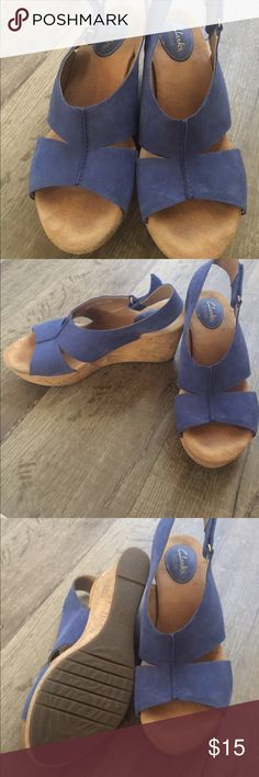 Wedges Navy blue wedges. Never worn Clarks Shoes Wedges