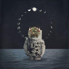 art, space, cosmos, moon