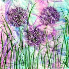 'Allium Wishes' Original Tissue Paper Collage On Canvas. SOLD