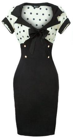 Lady Vintage New Chic 50s Wiggle Pencil Dress in Cream & Black Polka Dot - Gr. 36-50: Amazon.de: Bekleidung
