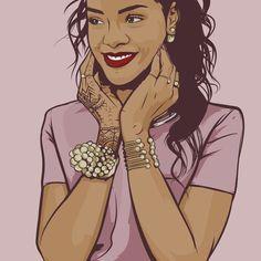 Rihanna | Art by Samona Lena info@scaredofmonsters.com http://scaredofmonsters.com http://instagram.com/ho3sz http://www.scaredofmonsters.tumblr.com/ https://society6.com/scaredofmonsters http://nabaroo.com/Samona/nabs