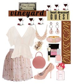 """Vineyard Wedding Best Dressed🍷🍷"" by mdfletch ❤ liked on Polyvore featuring Libbey, Chicwish, Rebecca Taylor, Mansur Gavriel, Bobbi Brown Cosmetics, Marc Jacobs, tenoverten, Kate Spade, Charter Club and Antica Murrina"