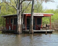 A common type of Fishing/Hunting camp that can be seen almost anywhere along the bayous and marshes of southern Louisiana. This one is on Louisiana's Atchafalaya Basin.