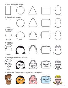 How to Draw Cartoon Faces Art Projects for Kids: How to Draw Cartoon Faces. I love this for story illustrations! It will help students move past faceless stick figures. Drawing Lessons, Art Lessons, Drawing Tips, Drawing Hair, Drawing Ideas, Gesture Drawing, Drawing Drawing, Drawing Cartoon Faces, Cartoon Head