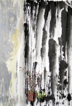After painting on rice paper with Chinese ink, Chinese pigments and ink pen, Rice Paper, Landscape Art, Rain, Chinese, Studio, Abstract, Artwork, Painting, Rain Fall