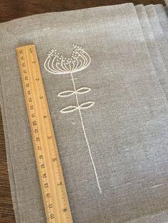 Set Tovagliette di lino di 6 mano ricamo biancheria di Rokasdarbi