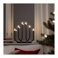 IKEA - STRÅLA, 6-ramenný LED svietnik, , Vytvára príjemnú, sviatočnú atmosféru domova.LED svetelný zdroj spotrebuje o až 85% menej energie a vydrží 10 krát dlhšie ako bežná žiarovka.