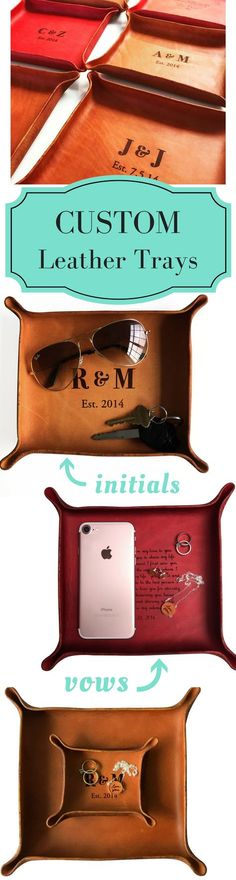 LOVE this meaningful leather anniversary gift! Personalize your initials or wedding vows on a genuine leather tray. Click to design yours now!