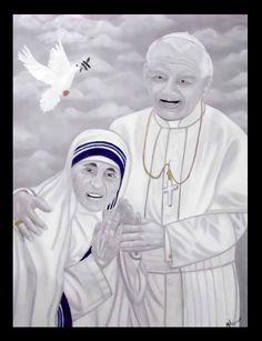 Madre Teresa de Calcuta y Juan Pablo II - Óleo sobre tela - 90x70 #Artwork #drawing #painting #paz