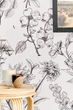 McKenna Etched Floral Removable Wallpaper