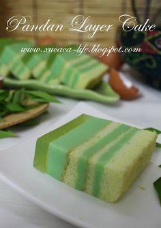 Flour & Me 爱的心灵之约: Pandan Layer Cake Pandan Layer Cake, Layer Cakes, Feta, Food And Drink, Layers, Cheese, Desserts, Recipes, Butter