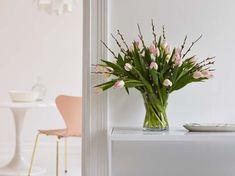 Gåsunger sammen med sart rosa tulipaner.
