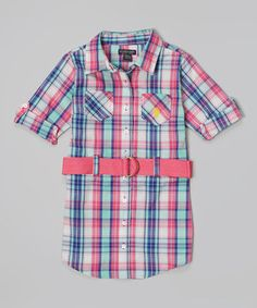 Look what I found on #zulily! Pink Kite Plaid Belted Button-Up Dress - Toddler & Girls by U.S. Polo Assn. #zulilyfinds