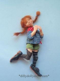 Miniature-Handmade-poseable-Pippi-Longstocking-Ooak-Dollhouse-doll-1-12th-scale