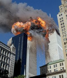 Flames, debris and smoke burst from the south tower of the World Trade Center as it is struck by United Airlines Flight 175 on Sept. 11, 2001. Although the south tower was the second to be struck, it would be the first to collapse.