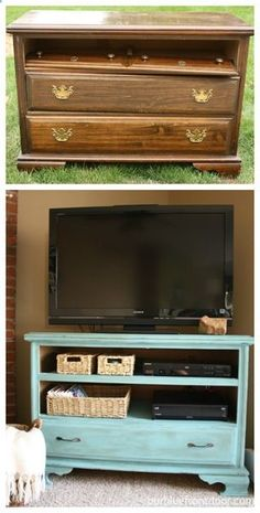 Shabby chic TV stand- along with many other great ideas for furniture restoration projects! Refurbished Furniture, Repurposed Furniture, Shabby Chic Furniture, Furniture Makeover, Painted Furniture, Bedroom Furniture, Shabby Chic Dressers, Vintage Furniture, Redoing Furniture