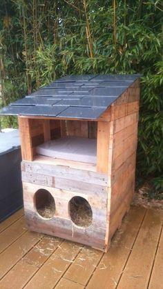 Petite cabane hivernale pour nos chats , réalisé avec 3 palettes et ardoises de récupération.